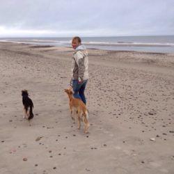 Birgit ist happy mit ihren Hunden.